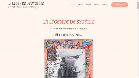 Copie d'écran du site pour le live la légende de Sygéric par Sabine Rostaing